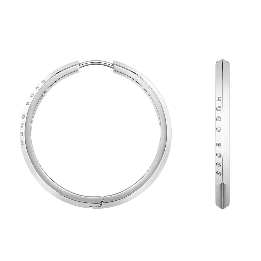 BOSS Ladies Insignia Silver Hoop Earrings 1580016