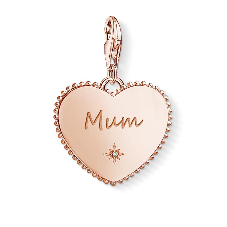 Thomas Sabo Rose Gold Mum Heart Charm 1688-416-40