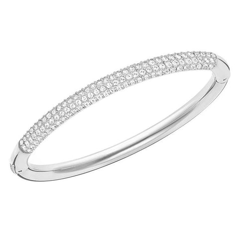 Swarovski Stone Silver Bangle Crystal Pavé