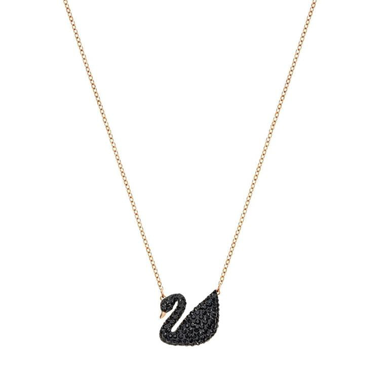 Swarovski Swan Black Rose Gold Necklace 5204134