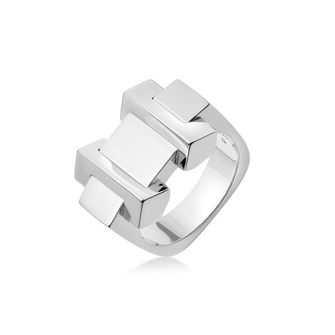 Links of London Brutalist Silver Block Ring