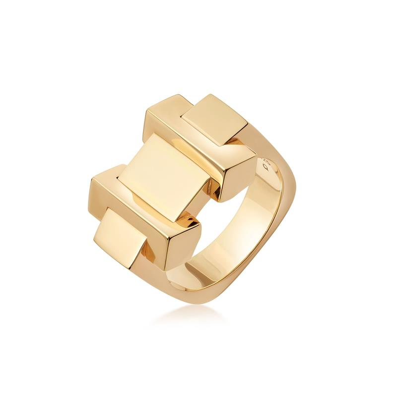 Links of London Brutalist Gold Block Ring