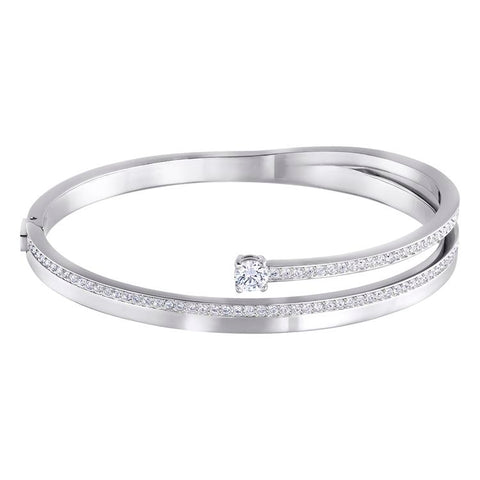 Swarovski Fresh Silver Bangle Crystal Pavé