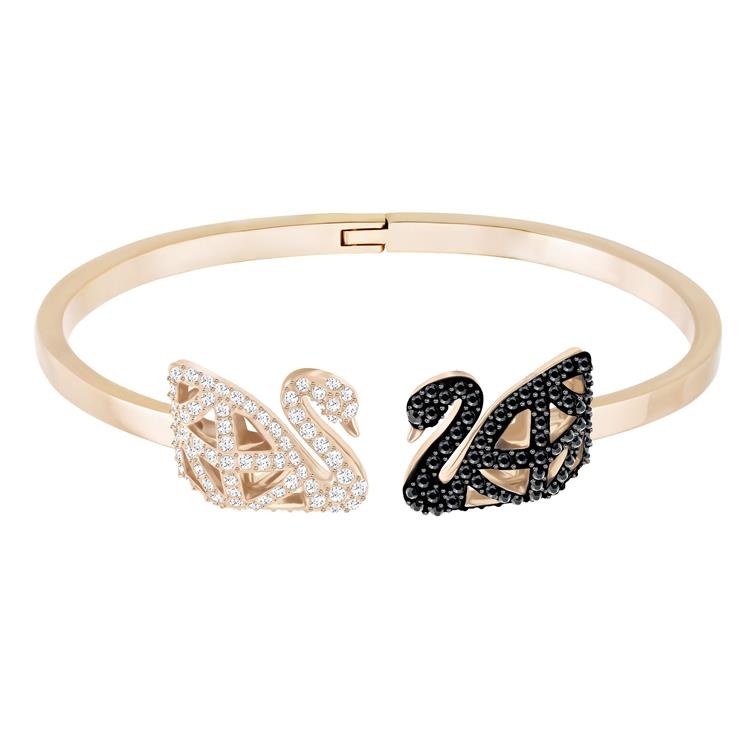 Swarovski Facet Swan Bangle Black & Rose Gold