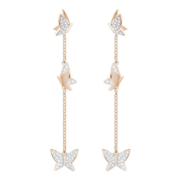 Swarovski Lilia Rose Gold Long Earrings 5382364