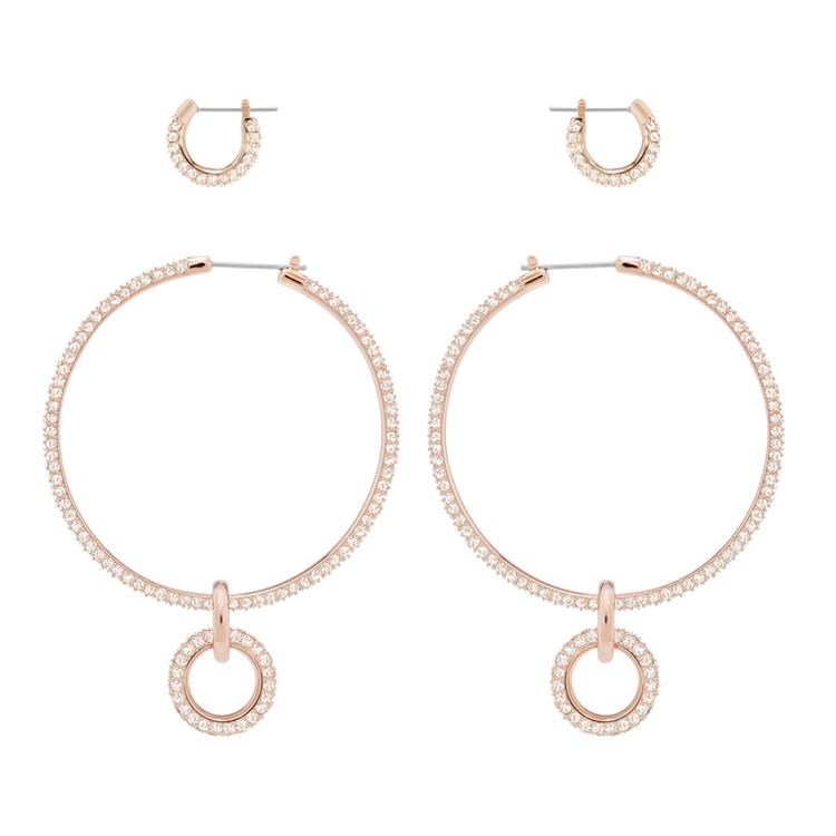 Swarovski Stone Rose Gold Hoop Earring Set 5426004