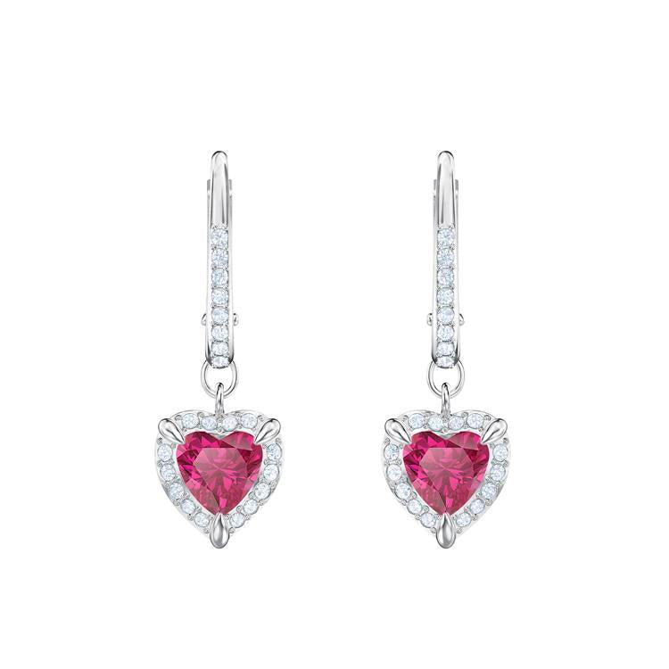 Swarovski One Red Heart Drop Earrings 5456979