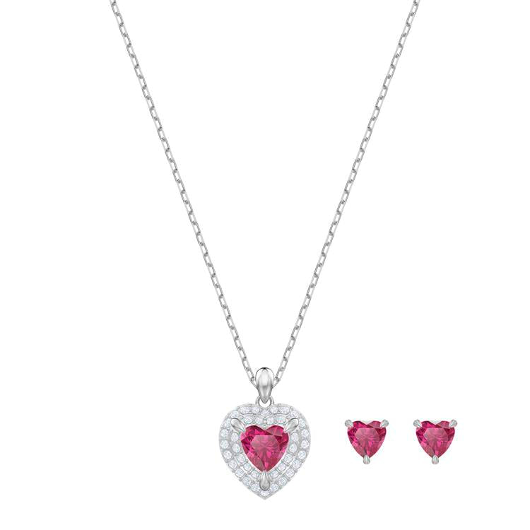 Swarovski One Red Heart Necklace Earrings 5470602