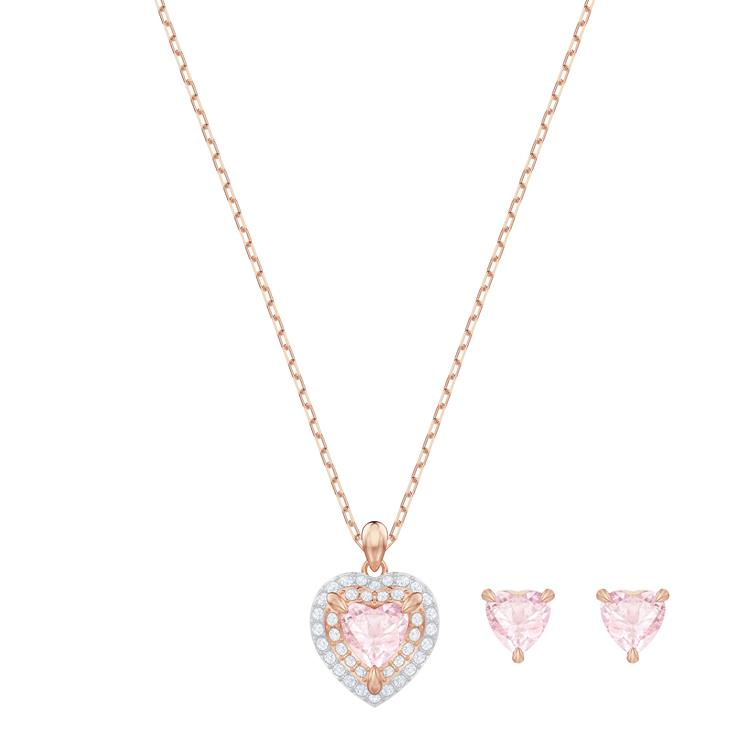 Swarovski One Pink Heart Necklace Earrings 5470897