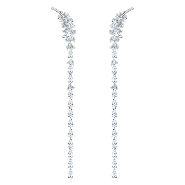 Swarovski Nice Feather Long Drop Earrings 5493406
