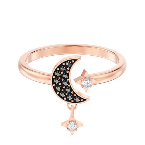Swarovski Symbolic Black Moon Charm Rose Gold Ring