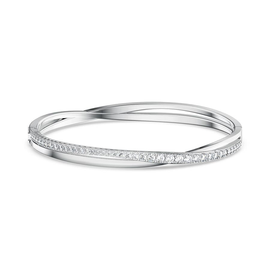 Swarovski Twist Rows Bangle Bracelet Rhodium Plated