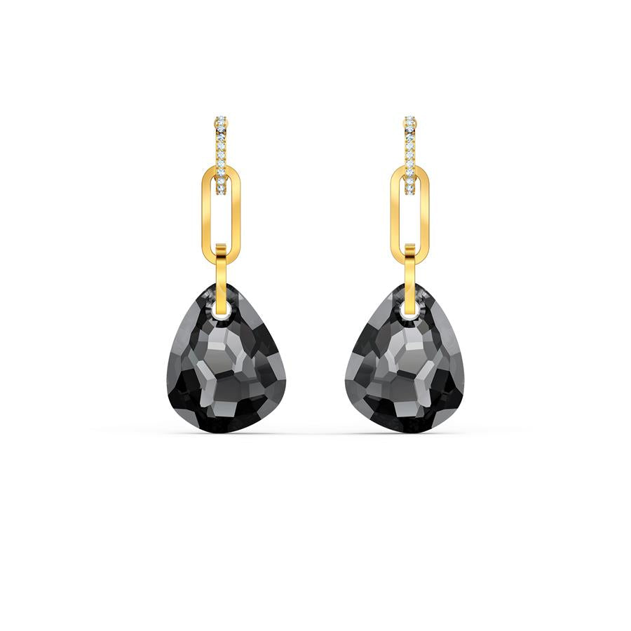 Swarovski T Bar Gold Plated Earrings Grey 5566148
