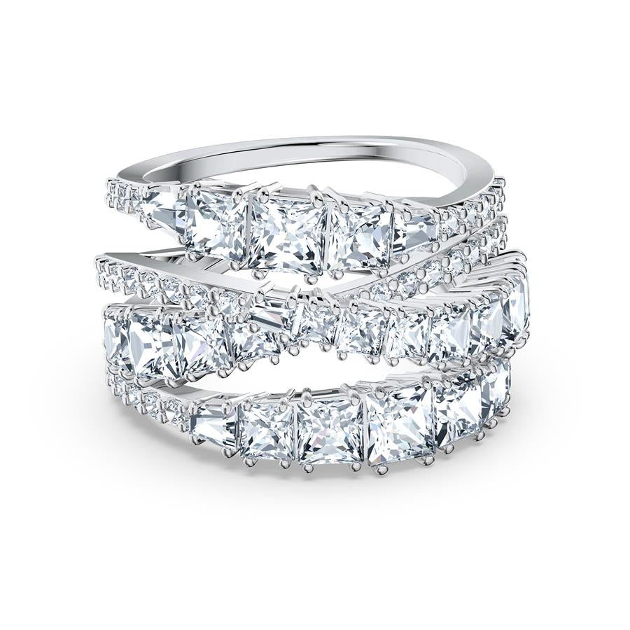 Swarovski Twist Wrap Ring  Rhodium Plated