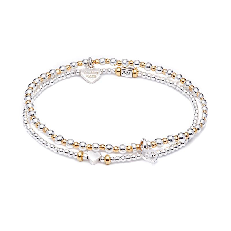 Annie Haak Love Gold Bracelet Stack Heart Charms