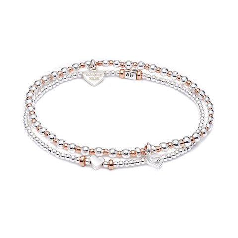 Annie Haak Love Rose Gold Bracelet Stack Heart Charms