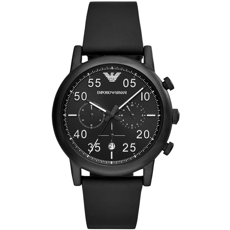 Armani Gents Black Dial Black Strap Watch AR11133