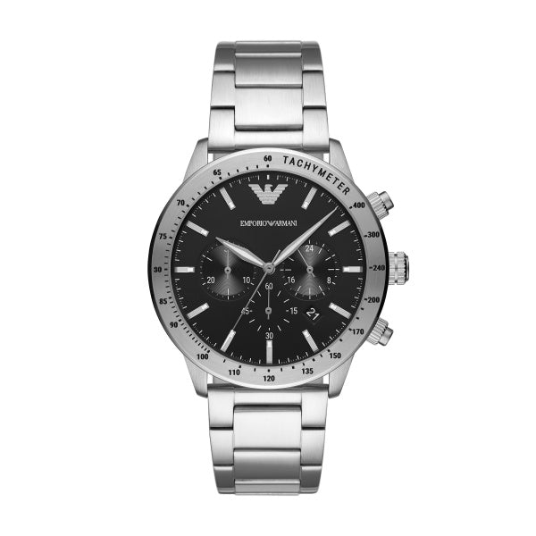 Armani Gents Black Dial Steel Bracelet Watch AR11241