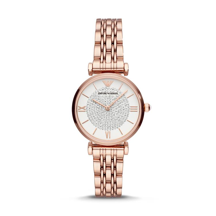 Armani Ladies Sparkling Dial Rose Gold Watch AR11244