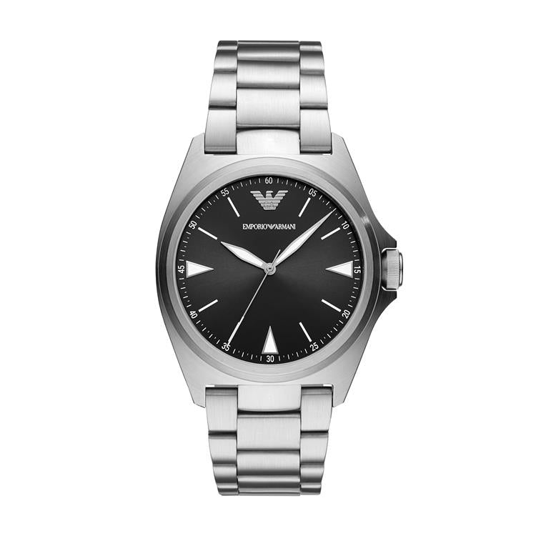 Armani Gents Black Dial Steel Watch AR11255