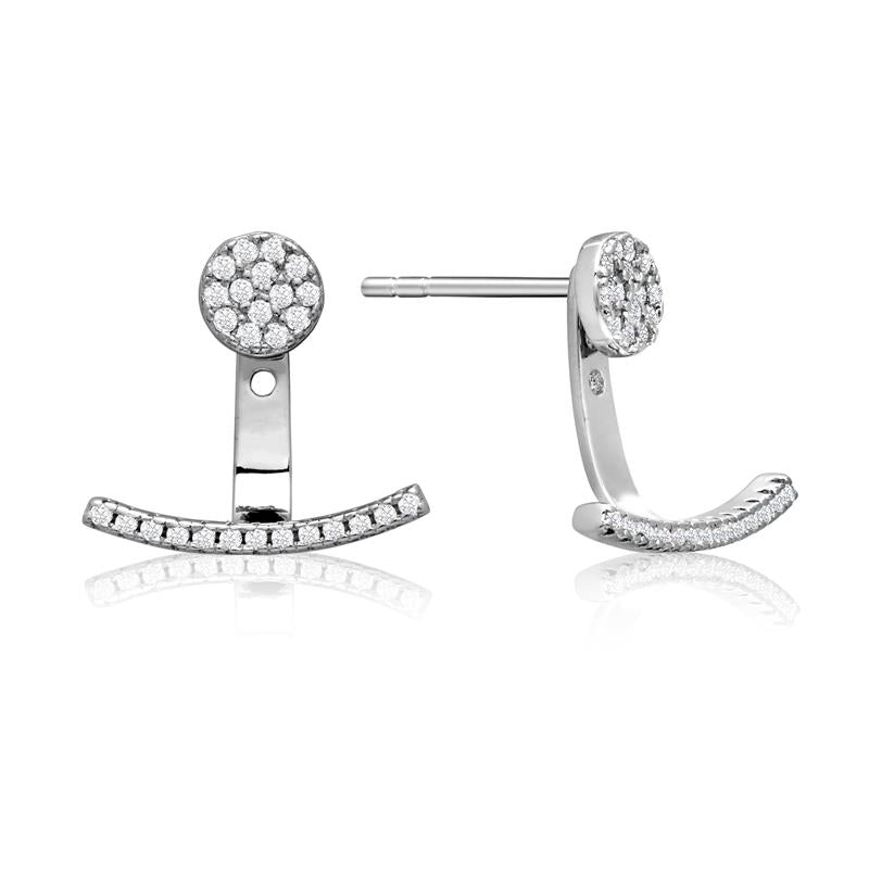 Achara Zirconia Pave Button Jacket Earrings