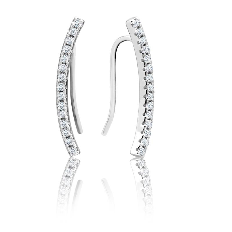 Achara Zirconia Curved Climber Earrings