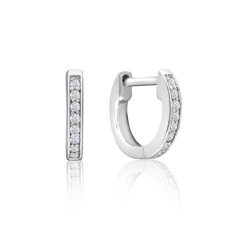 Achara Channel Set Zirconia Huggie Hoop Earrings