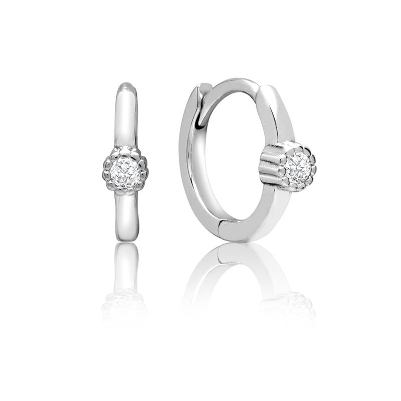 Achara Fluted Zirconia Huggie Hoop Earrings