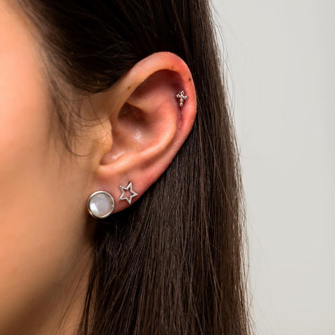 Achara Beaded Cross Stud Cartilage Earring