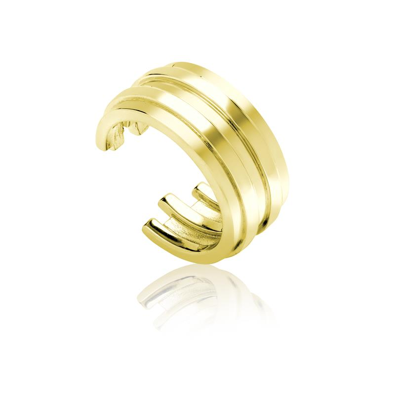 Achara Open Ribbed Chunky Gold Ring