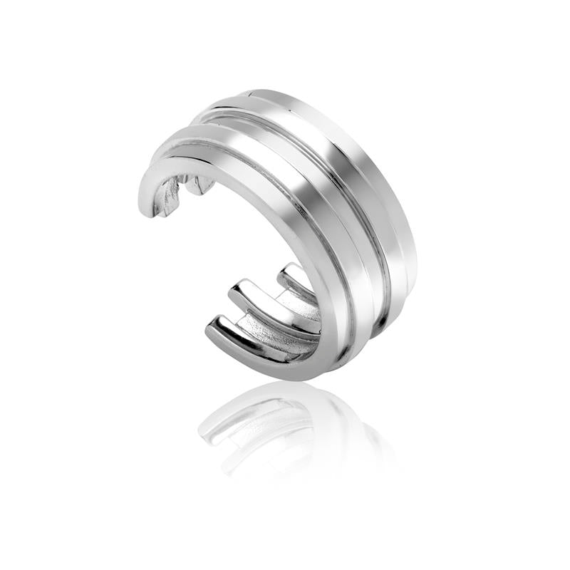 Achara Open Ribbed Chunky Silver Ring