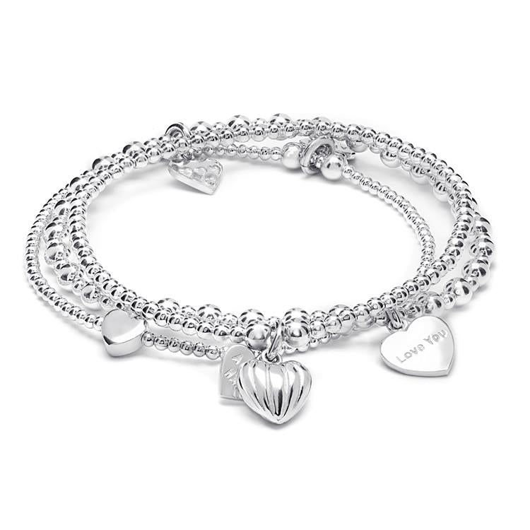 Annie Haak Hearts of Love Silver Bracelet Stack