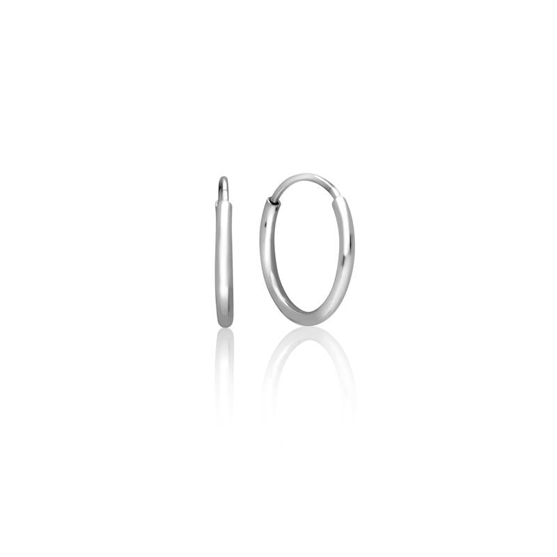 Achara Simple 1.2mm Small Silver Hoop Earrings