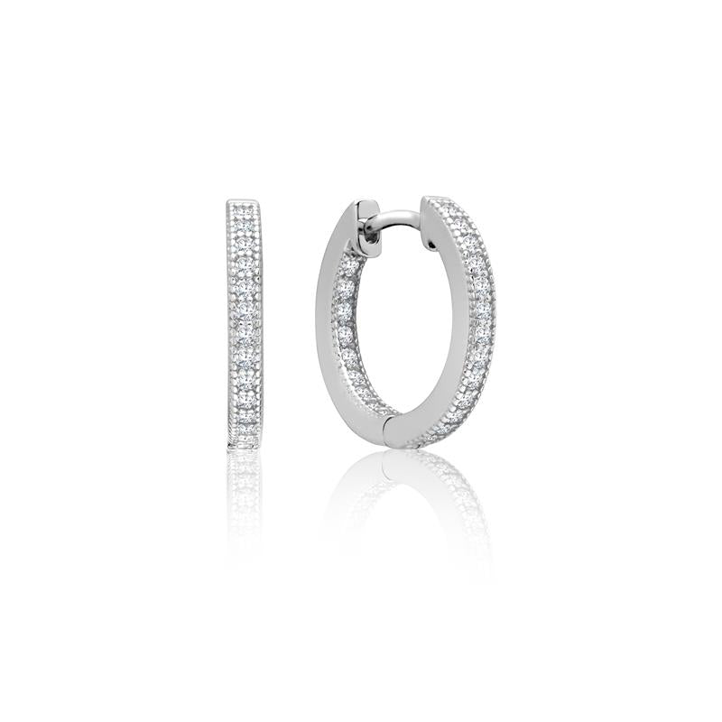 Achara Zirconia Grain Edge Silver Hoop Earrings