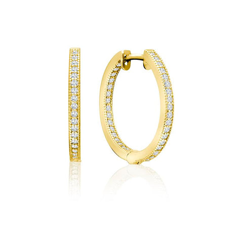 Achara Zirconia Grain Edge Gold Hoop Earrings