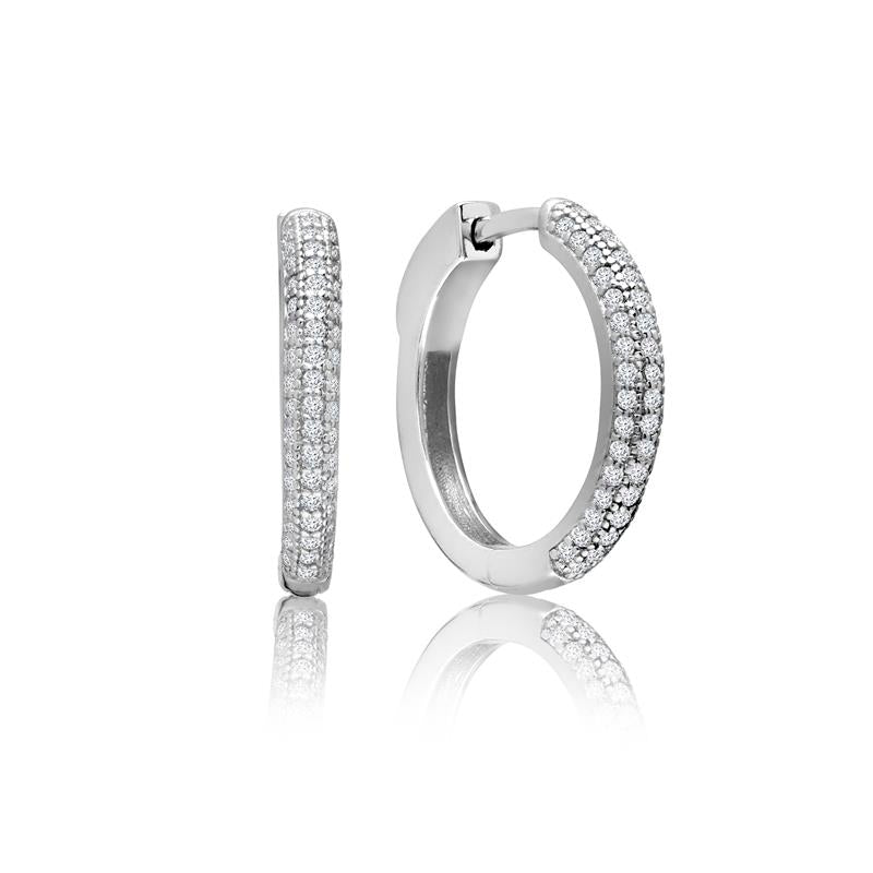 Achara Zirconia Pave 20mm Silver Hoop Earrings