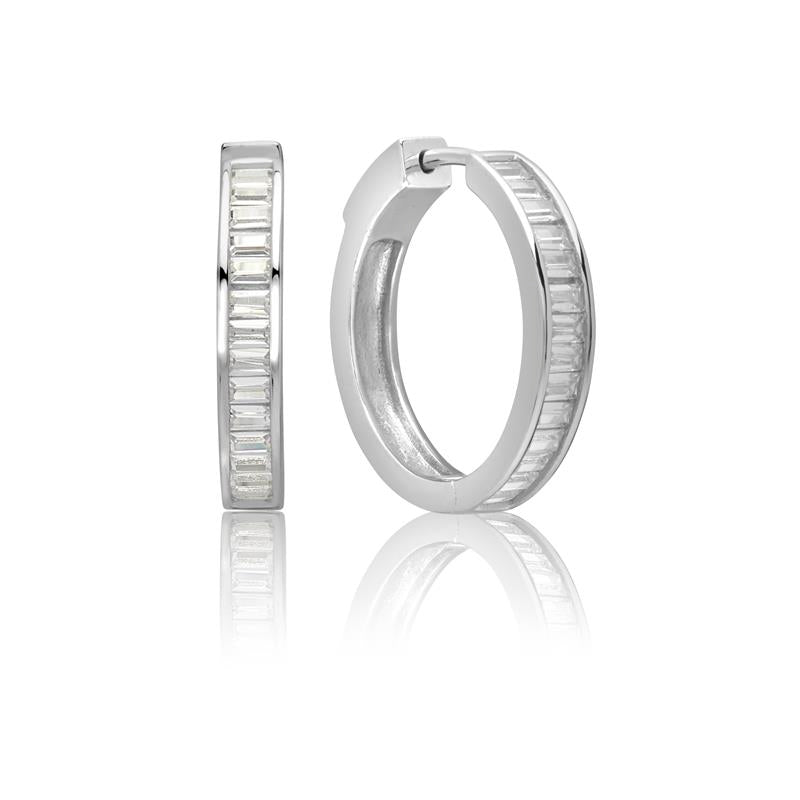 Achara Baguette Cut Zirconia Silver Hoop Earrings