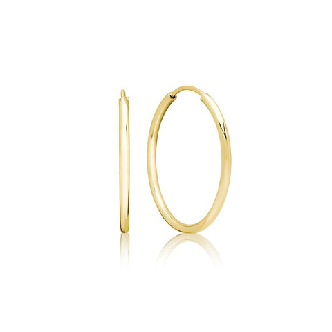 Achara 2mm Yellow Gold Large Hoop Earrings