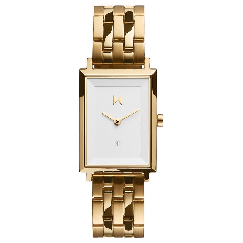 MVMT Signature Square White & Gold Watch D-MF03-G