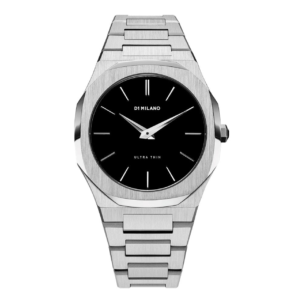 D1 Milano Ultra Thin Black Dial Steel Watch A-UTB01
