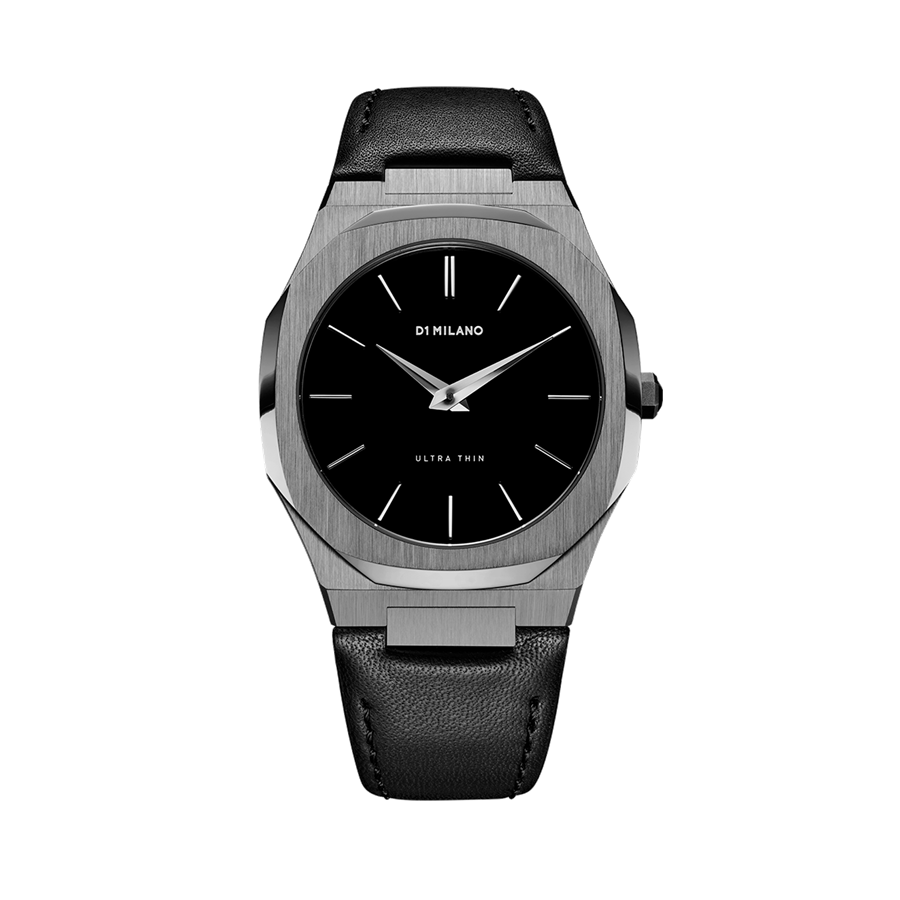 D1- Milano Ultra Thin Black Leather Watch ULTJ02