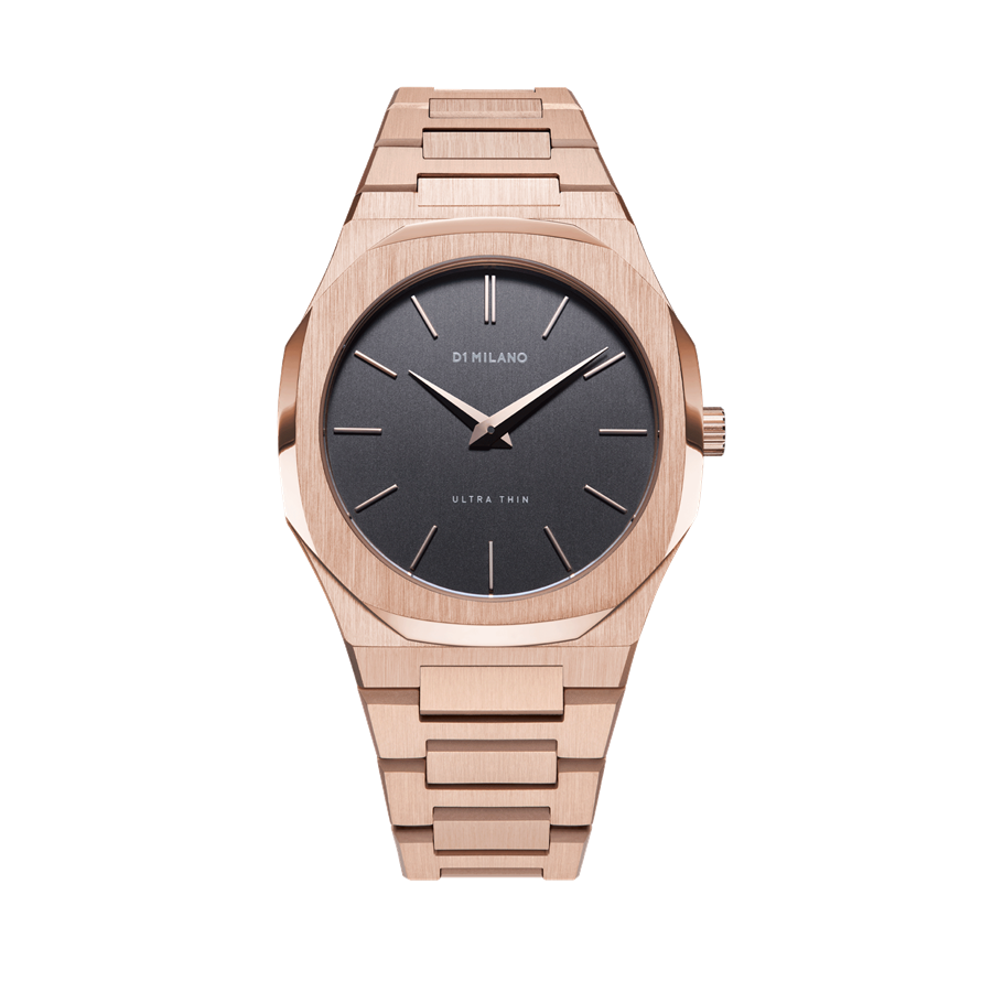D1- Milano Ultra Thin Rose Gold Black Watch UTBJ08
