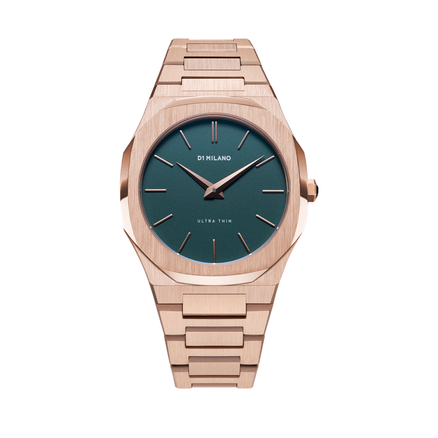 D1- Milano Ultra Thin Rose Gold Green Watch UTBU02