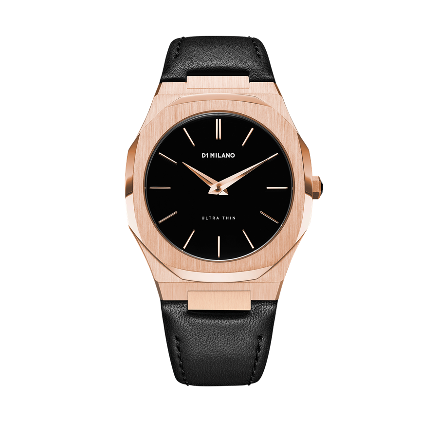 D1- Milano Ultra Thin Black & Rose Gold Watch UTLJ03