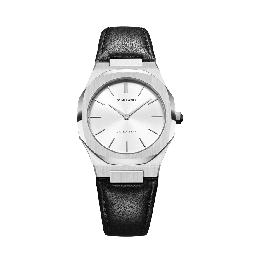 D1- Milano Ultra Thin Black & Silver Watch UTLL13