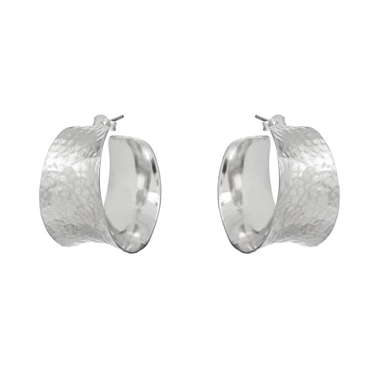 Annie Haak Raya Hammered Silver Huggies Earrings