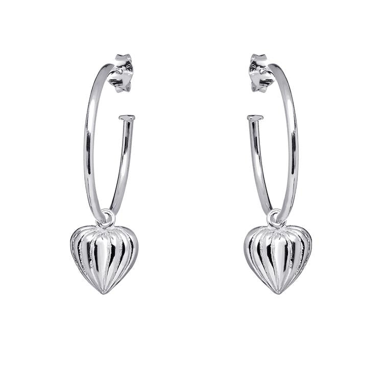 Annie Haak Lined Heart Hoop Silver Earrings