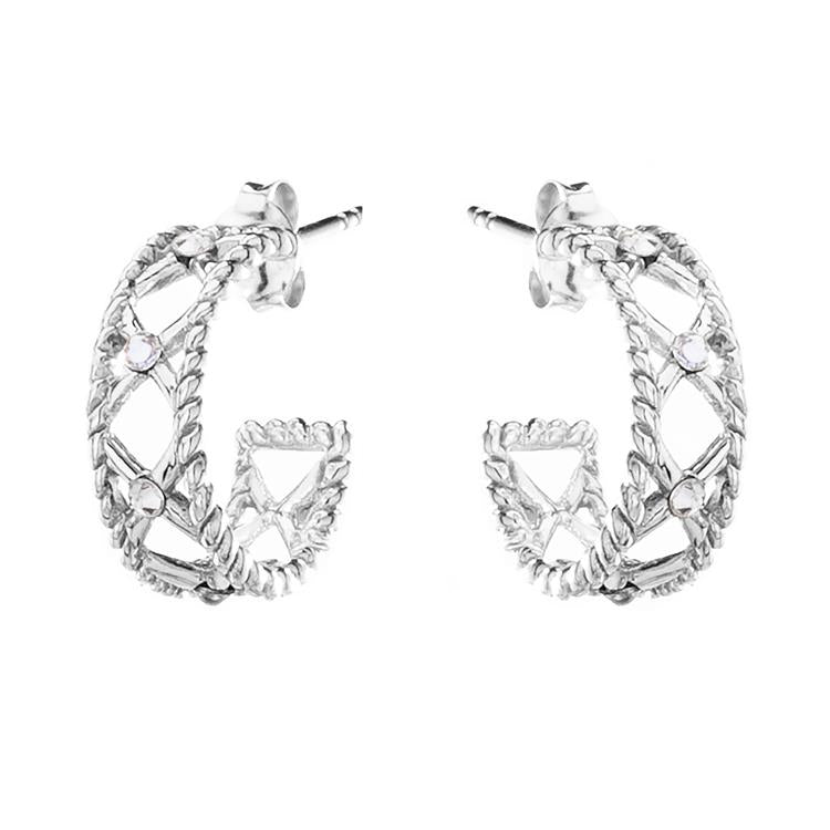 Annie Haak Crystal Kiss Silver Hoop Earrings