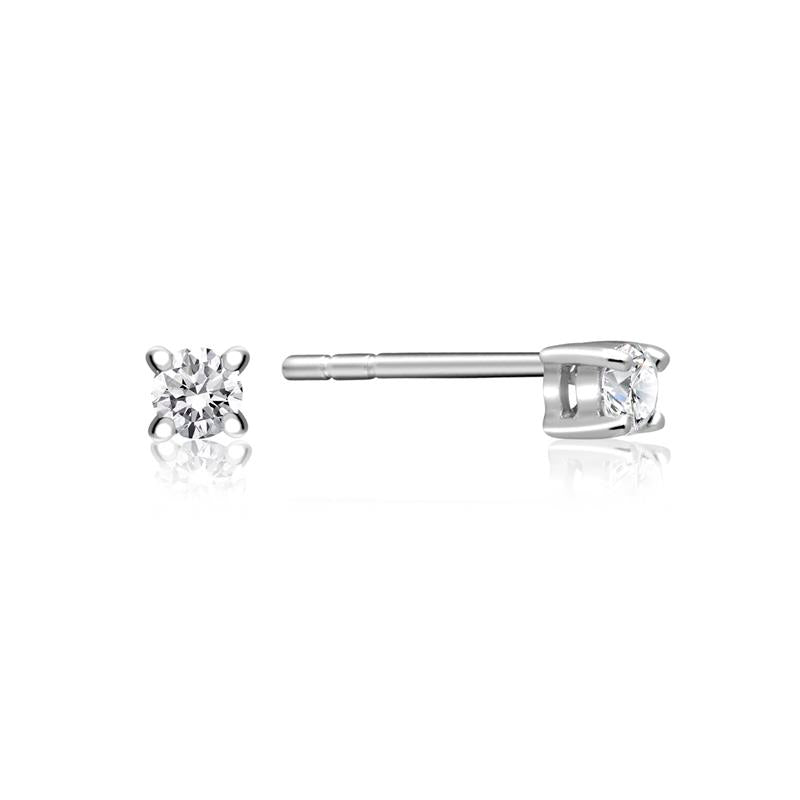 Achara Solitaire Zirconia Silver Stud Earrings