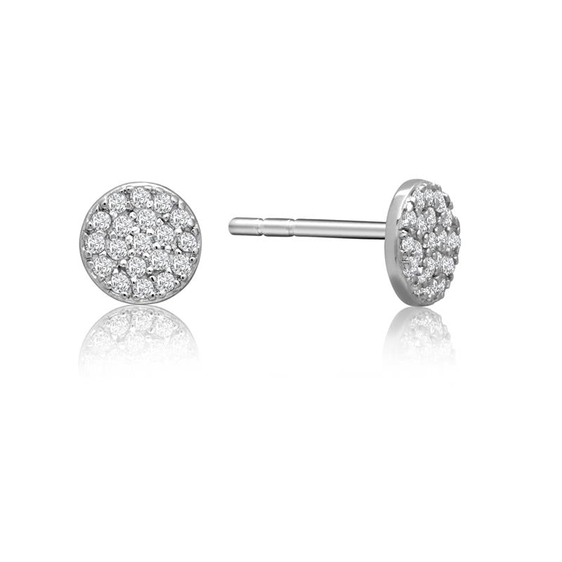Achara Small Zirconia Pave Button Stud Earrings